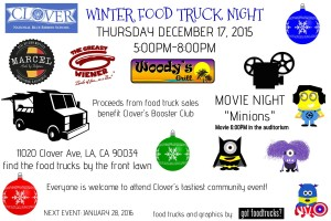 clover avenue elementary school minions movie night los angeles food truck west los angeles winter events