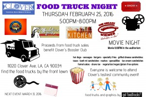 clover elementary west los angeles food truck night movie night fundraiser mar vista palms
