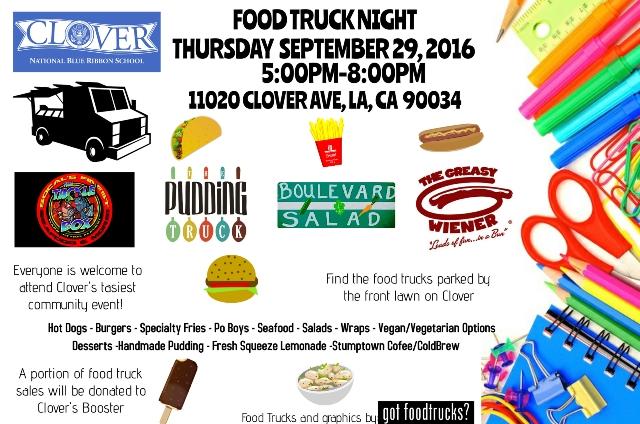 los angeles food trucks free fall summer event clover avenue elementary mar vista venice west los angeles fundraiser
